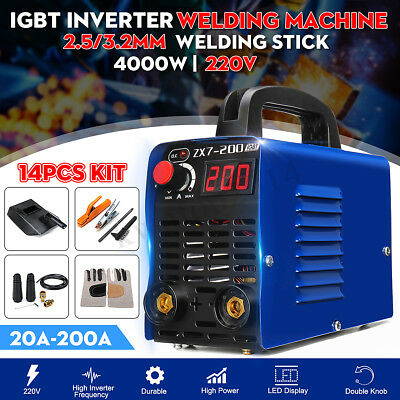 220V ZX7-200 Portable 4000W MMA ARC Welder IGBT Welding Inverter Machine + Clamp