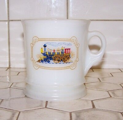 Vintage Avon Shaving Mug With Steam Locomotive, Milk Glass W/Decal .
