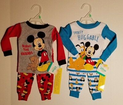 Infant Toddler Boys Mickey Mouse & PLUTO 2 PACK Pajama Sets Size 9 18 24 M