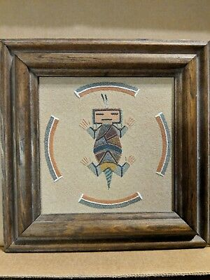 vintage framed signed Navajo sand painting - Horned Toad with Rainbow - R. Henry