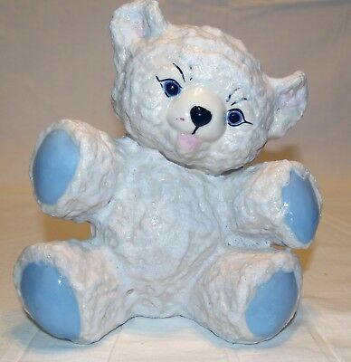 Vintage 1957 Mid-Century Ceramic Teddy Bear Bank - Blue - with reusable plug