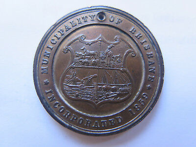 1897 MUNICIPALITY of BRISBANE QUEEN VICTORIAS 60th DIAMOND JUBILEE MEDALET QLD
