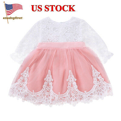 Infant Baby Girls Lace Long Sleeves Princess Fluffy Dress Toddler Clothes Outfit