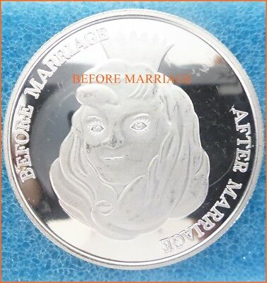 1 oz .999 Silver BEFORE MARRIAGE, AFTER MARRIAGE UPSIDE DOWN COIN Art Round 2093
