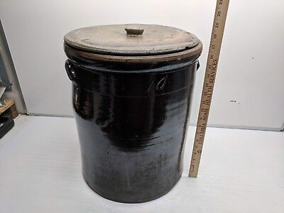 Extremely Rare 10 Gallon Vintage Ceramic Crock Brown with Original Lid Cover