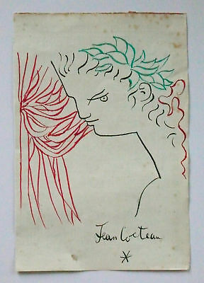 JEAN COCTEAU -- A 1940s-1950s GOUACHE PAINTING, SIGNED, OF A BOY OR A YOUNG MAN