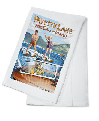 Payette Lake, McCall, ID Water Skiing - LP Artwork (100% Cotton Towel Absorbent)