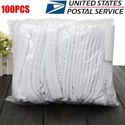 100pcs Disposable Hair Net Cap Non Bouffant Stretch Dust Cap White Pleated US