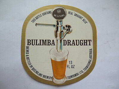 CUB QUEENSLAND BREWERY BULIMBA DRAUGHT 13 Fl Oz BEER LABEL 1960s