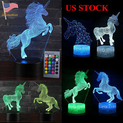 3D 7/16 LED Table Desk Lamp Night Light Remote & Touch Control Home Decoration