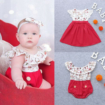 Christmas Kids Baby Girls Sister Clothes Romper Jumsuit Lace Party Dress Outfits