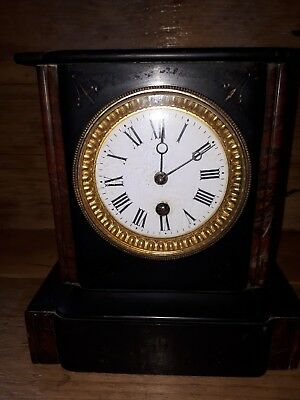 Fine Old Antique Vintage Victorian Marble Mantel Clock + Key C1880 Spares Repair