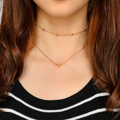 Fashion Simple Double Layers Heart Pendant Necklace Choker Chain Women Jewelry