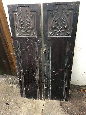 Two Carved Oak Wooden Doors Vintage Upcycle 345mm X 1260mm Each