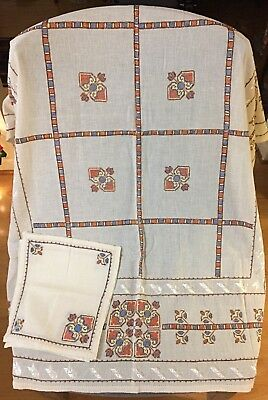 Vintage European linen small tablecloths with cutwork or embroidery - lot of 6
