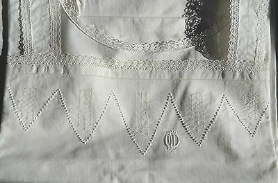Antique French white work hand embroidered cotton shift, MD monogram, lace edge