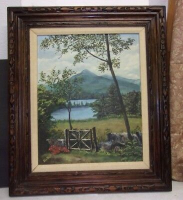 Estate Vintage Oil Painting in Fancy Wood Frame Signed Barbie Mountain Lake