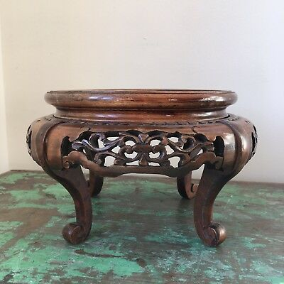 "Antique Vintage Chinese Carved Wood Wooden Fretwork Vase Stand, 6.25"" Capacity"