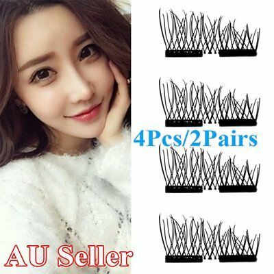 3D Magnetic False Eyelashes Natural Eye Lashes Extension Handmade 4 Pcs GGSF