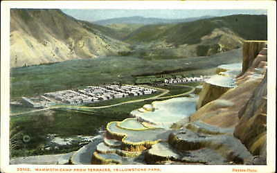 Mammoth Camp from Terraces Yellowstone Park Wyoming WY aerial view 1920s
