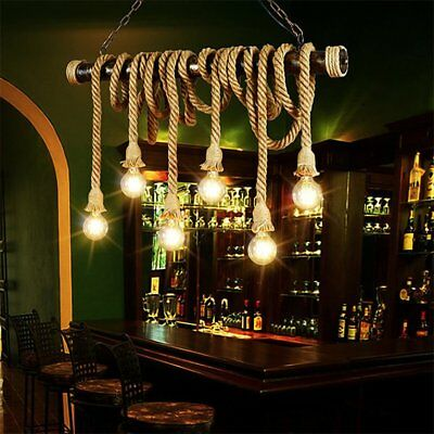 Pendant Lamp Double Head Vintage Rope Ceiling Light Home Decoration Hemp Rope&#