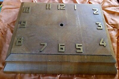 "Antique Art Deco Large Wall Clock Parts Veneered CASE ONLY 15"" X 12"""