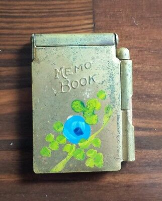 """Vintage Antique BRASS METAL MEMO BOOK with paper and pencil 2""""x 1 1/2"""" Flowers"""