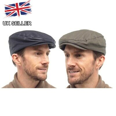 Wax Flat Cap Waxed Cotton Country Lined Rain Hat Fishing Shooting Mens Uk Seller