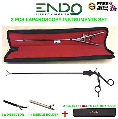 New Laparoscopic 5mm Needle Holder & Maryland Dissector 33cm Dissecting Forceps