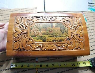 Vintage Ornate Wood Small Wood Box Misc Picture Jewelry Box Trinket Mirror
