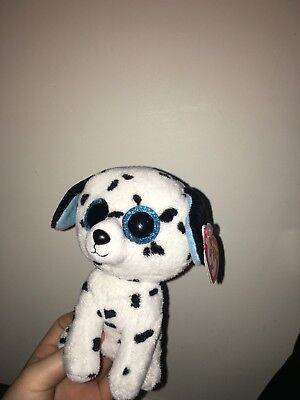 6078e4ac7db Ty Beanie Boos Soft Plush Toys Black and White Fetch The Dog New with Tag