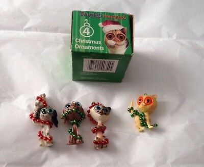 Twisted Whiskers Christmas Ornaments Cats Dogs Set Of 4 American Greetings 2004