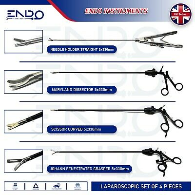 ENDO® 4 x Laparoscopic Training Instruments Laparoscopy Hand pieces Trainer Set