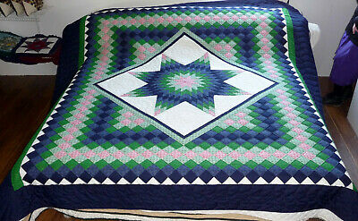 Amish Handmade Quilt Trip Around the World New Amish King Queen or Queen Quilt