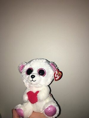 c4fa83f1019 Rare Ty Beanie Boos Soft Plush Toy Sweetly The Bear Valentines New with Tag