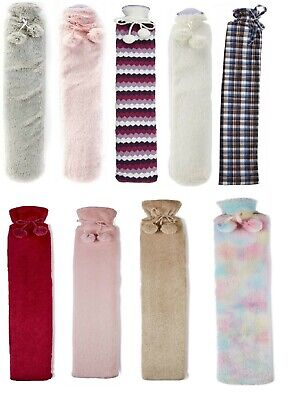 Long Hot Water Bottles Natural Rubber Hot Pack With Removable PU Fur Covers 72cm