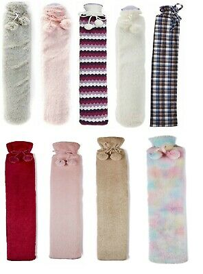 Long Hot Water Bottles Natural Rubber Pack With Removable Fur/Plush/Knit Covers