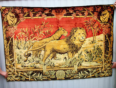 early 1900's antique Italian  lion & monkey  tapestry
