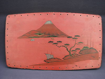 """15"""" Japanese Red Black Lacquer Hand Painted Mt Fuji Wood Laminate Tray or Plaque"""