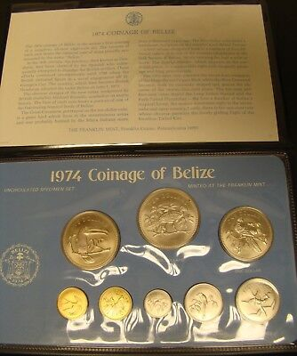 1974 Coinage of Belize Uncirculated Specimen Set by Franklin Mint   Foreign Coin