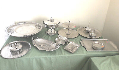 Lot 29 Vintage Hand Forged Hammered Aluminum Lazy Susan Trays Coasters Chafing