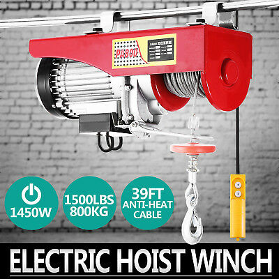 WIRE ROPE HOIST CRANE TROLLEY PROFESSIONAL ELECTRICAL HOIST WINCH 800KG Scaffold