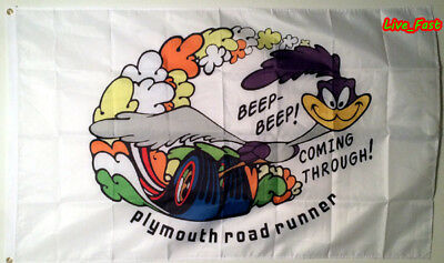 PLYMOUTH ROAD RUNNER FLAG BANNER hemi vintage retro muscle car collectable sign