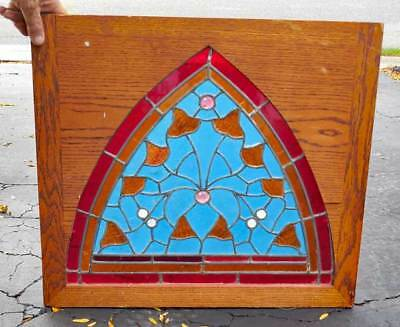Antique **arched Stained , Leaded Window**  Strong Colors