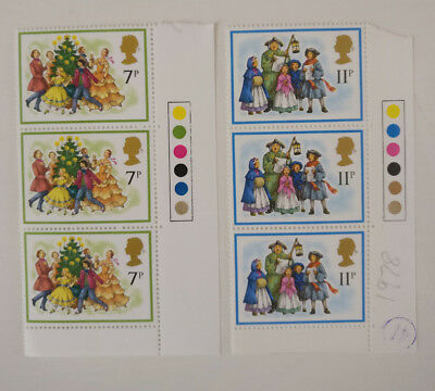 Pair Of Traffic Light Corner Strips Christmas 1978 Mint Stamps