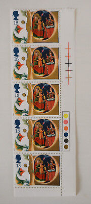 Traffic Light Corner Strip Christmas 1991 Illustrated Manuscripts Mint Stamps