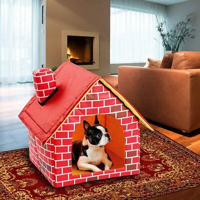 Portable Brick Pet House With Chimney Warm And Cozy Dog Cat Bed Pet Tent WDNS