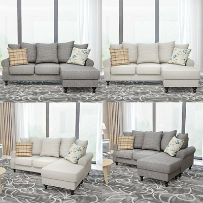 Miraculous Fabric Corner Sofa W Movable Chaise Footstool Living Room Evergreenethics Interior Chair Design Evergreenethicsorg