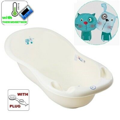 Baby Bath Baby Tub with thermomether drain 102cm Dog&Cat light yellow