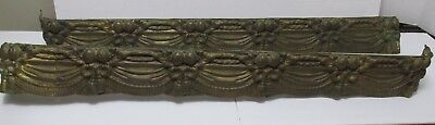 Pr Antique BRASS VALANCES Embossed Ornate for Drapery Curtain Door Frame Twin BE